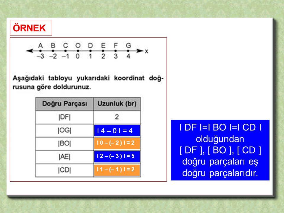 [ DF ], [ BO ], [ CD ] doğru parçaları eş doğru parçalarıdır.